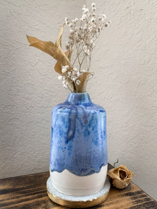 White & Blue Drip Vase - by Sophia Grace Collection