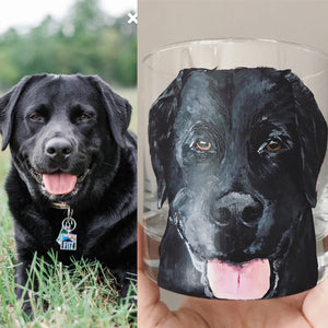Rocks Glass with Personalized Pet Portrait - Hand Painted - by Via Francesca