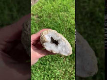 Load and play video in Gallery viewer, Moroccan Geode with Clear Quartz Growth - 380g - Clarity // Enlightenment