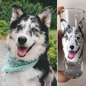 Shot Glass with Personalized Pet Portrait - Hand Painted - by Via Francesca