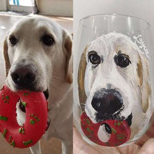 Wine Glass with Personalized Pet Portrait - Hand Painted - Stemmed or Stemless - by Via Francesca