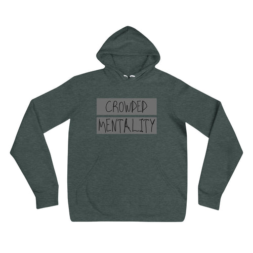 Unisex hoodie with gray overlay logo design
