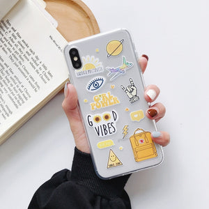 Moskado Funny Cartoon Phone Case For iPhone 11 Pro Max X XR XS 6 6s 7 8 5 5s SE Abstract Art Clear Soft TPU Silicone Back Cover