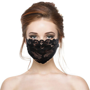 Black Embroidery Adjustable Mask