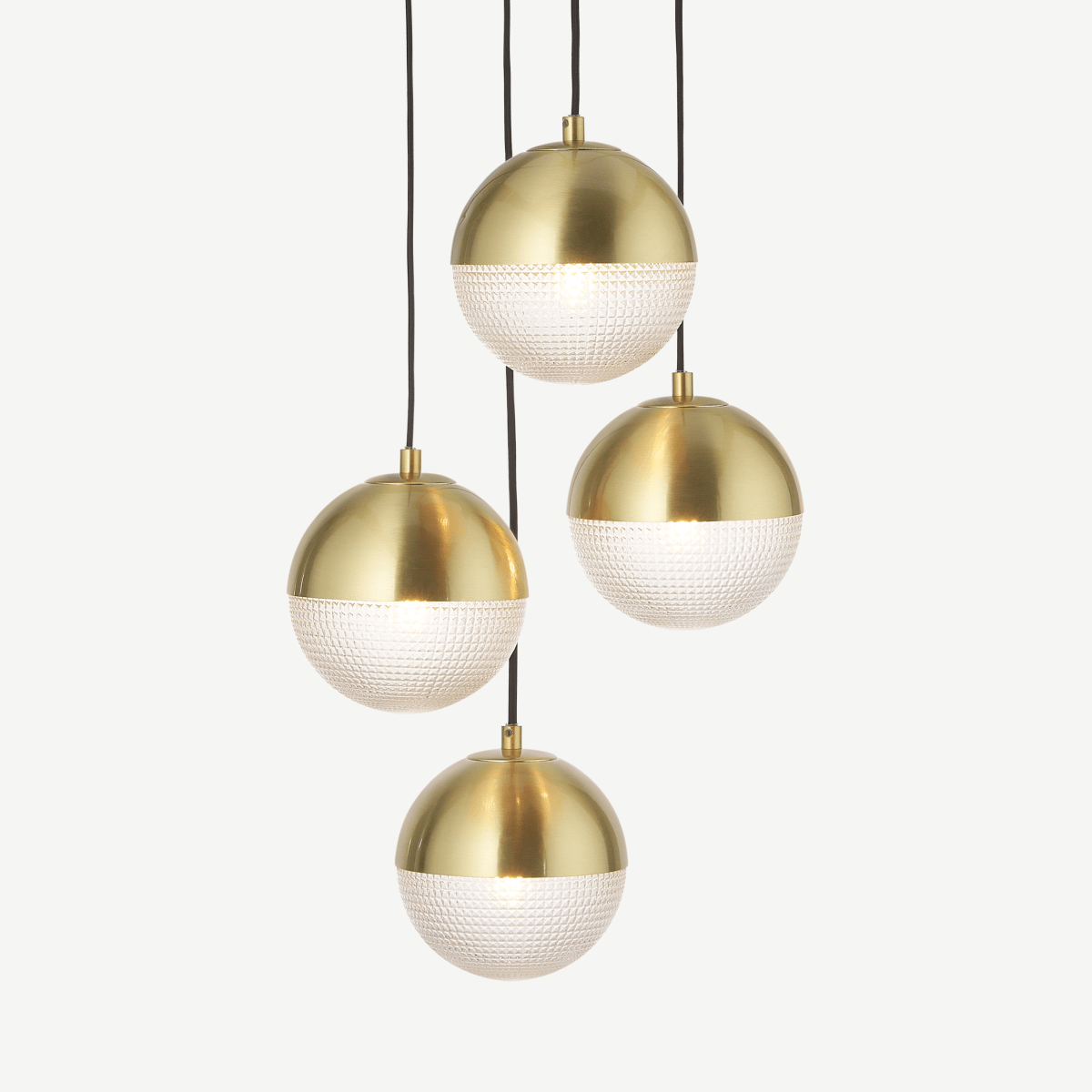Cher Cluster Pendant Lamp, Textured Glass & Brass