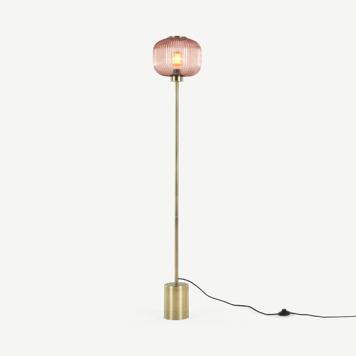 Briz Textured Glass Floor Lamp, Antique Brass & Pink