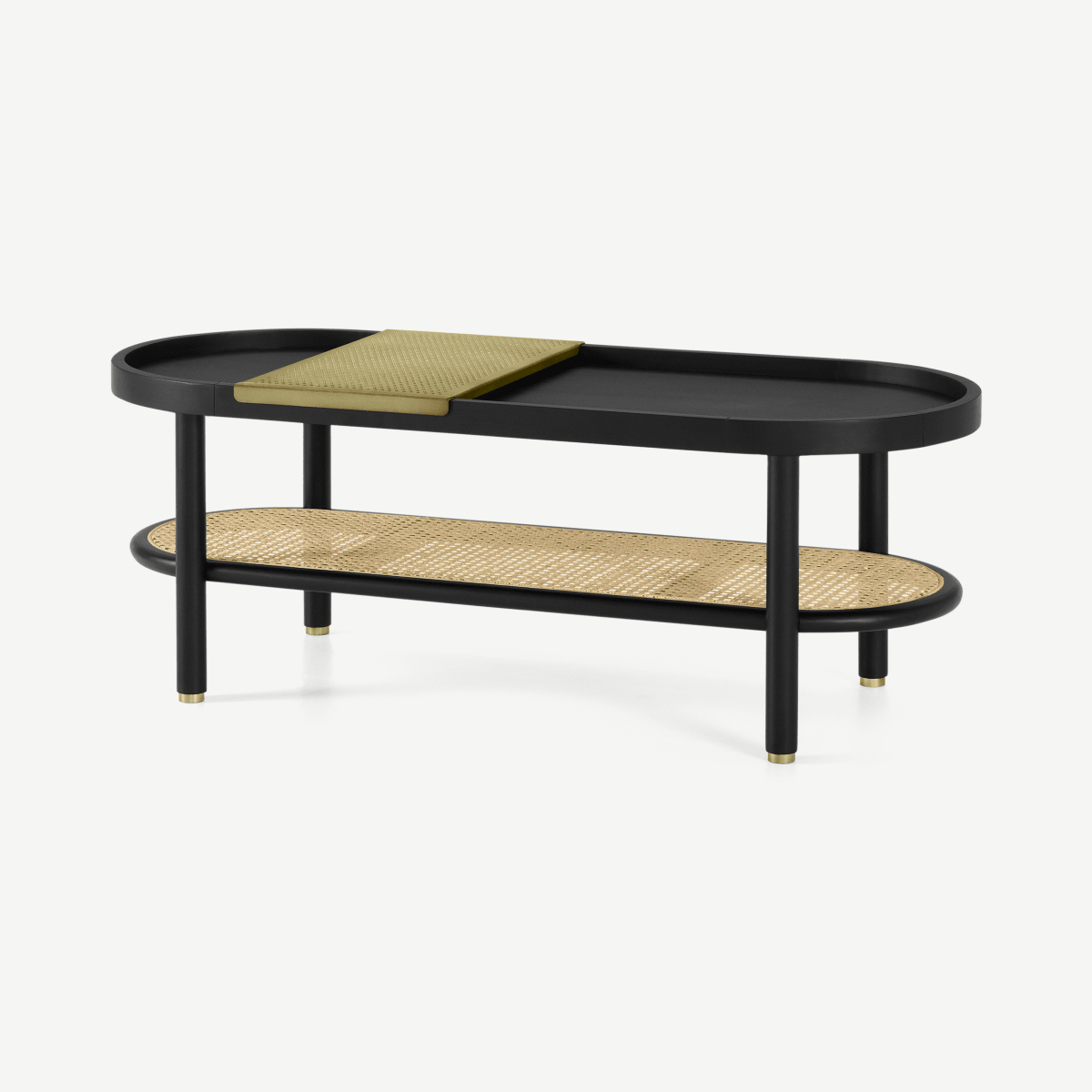 Ankhara Coffee Table, Black Stained Oak & Rattan