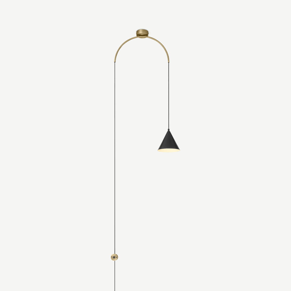 Amada Wall Lamp, Black & Antique Brass