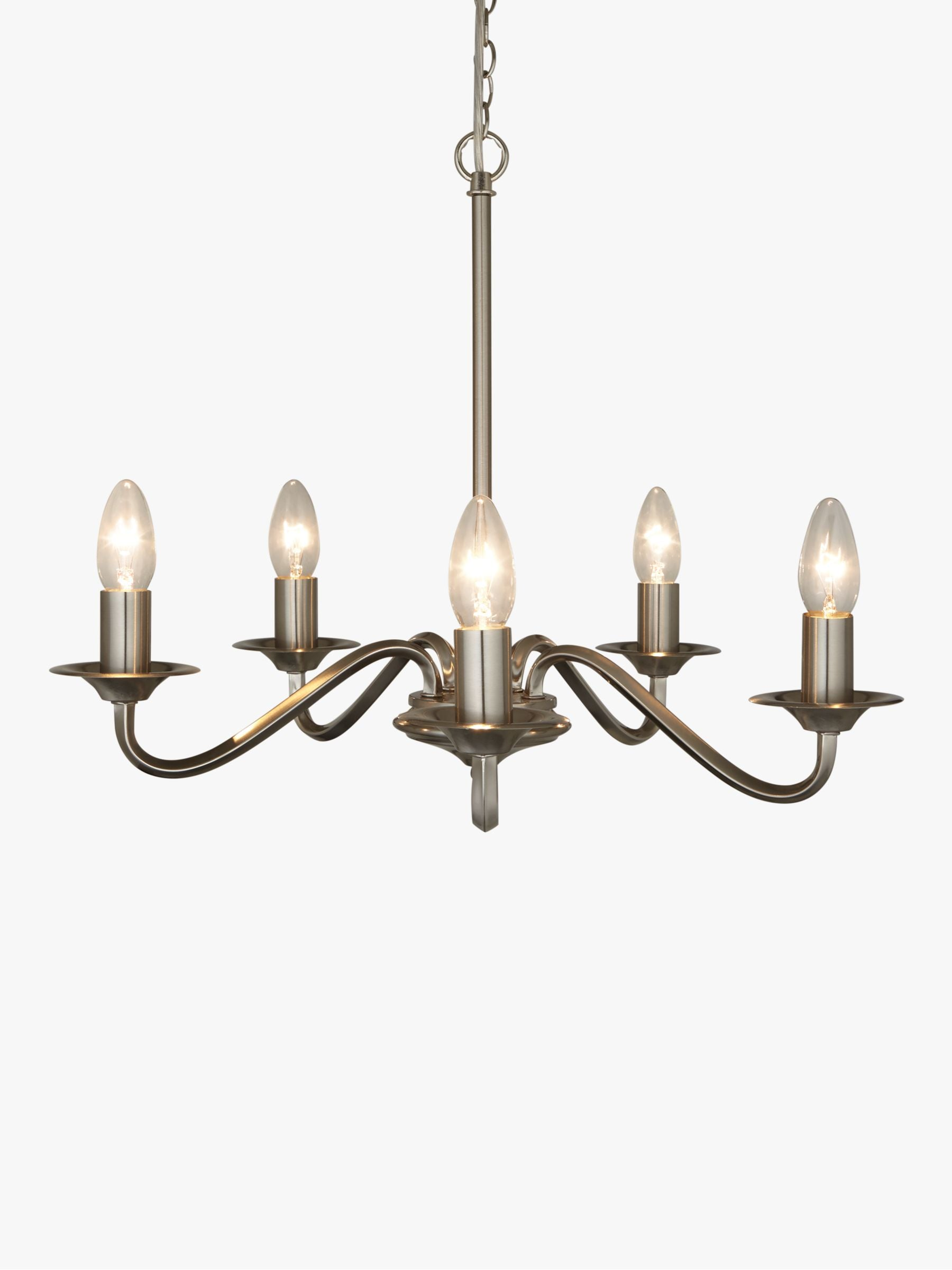John Lewis & Partners Wakefield Chandelier Ceiling Light, 5 Light, Satin Nickel