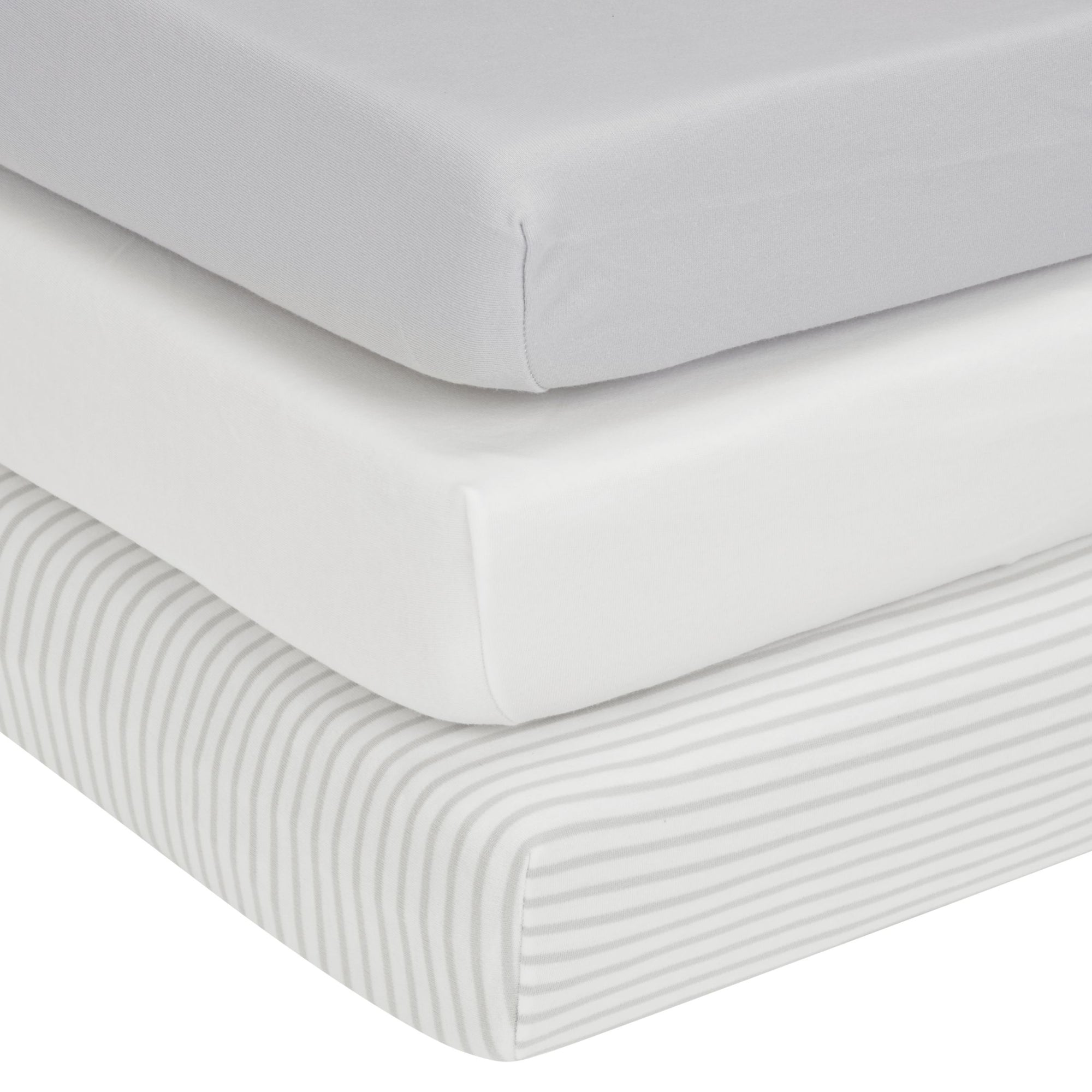 John Lewis & Partners GOTS Organic Cotton Fitted Cotbed Sheet, Pack of 3, 70 x 140cm