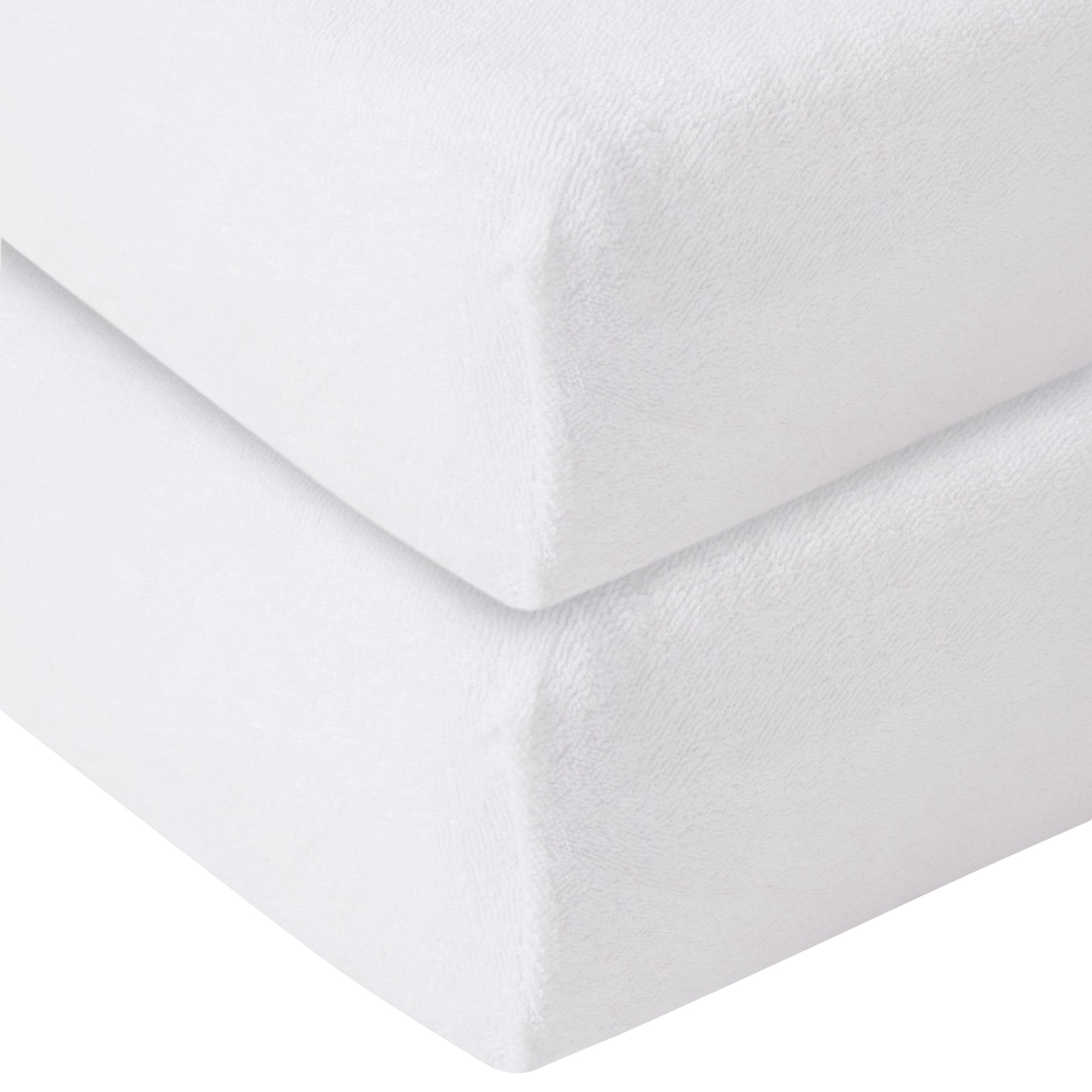 John Lewis & Partners GOTS Fitted Terry Cotbed Sheet, 70 x 140cm, Pack of 2, White