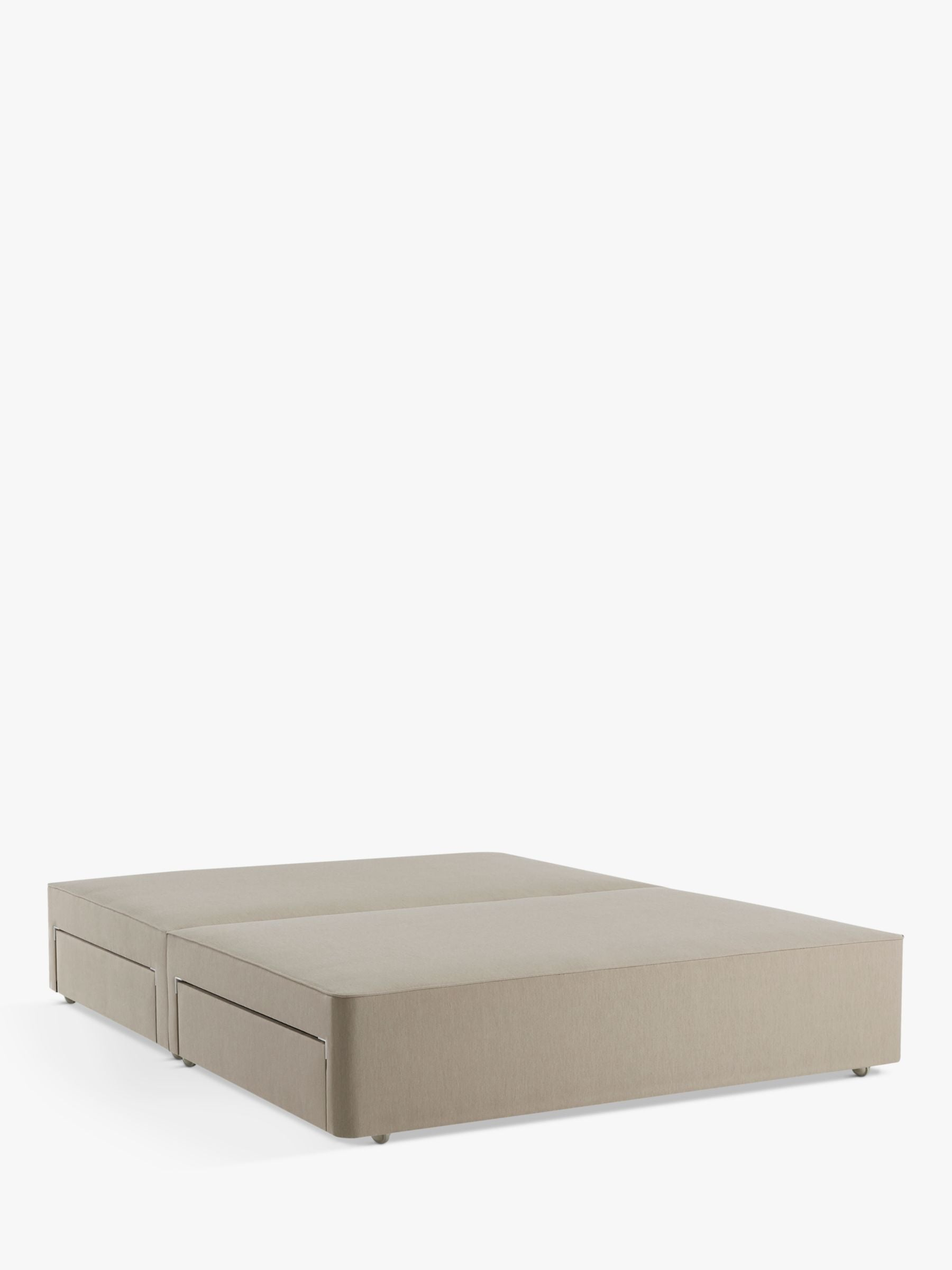 John Lewis & Partners Pocket Sprung 2500 4 Drawer Storage, Small Double Upholstered Divan Base, Canvas Stone Grey, FSC-Certified (Pine)
