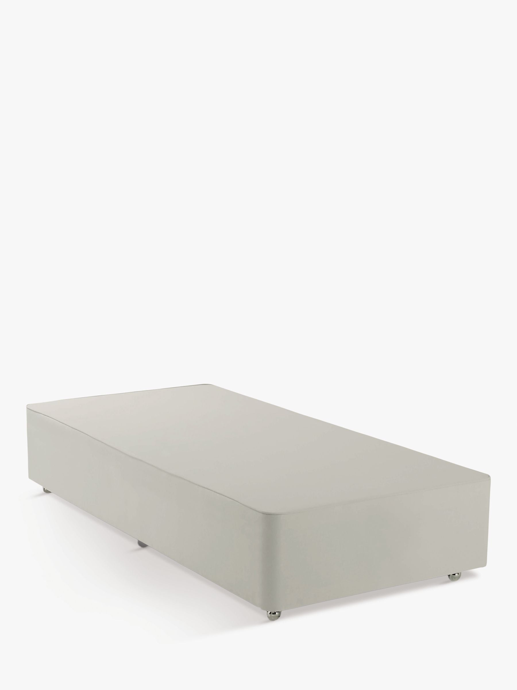 John Lewis & Partners Non-Sprung Upholstered Divan Base, Single, Canvas Stone Grey, FSC-Certified (Pine)