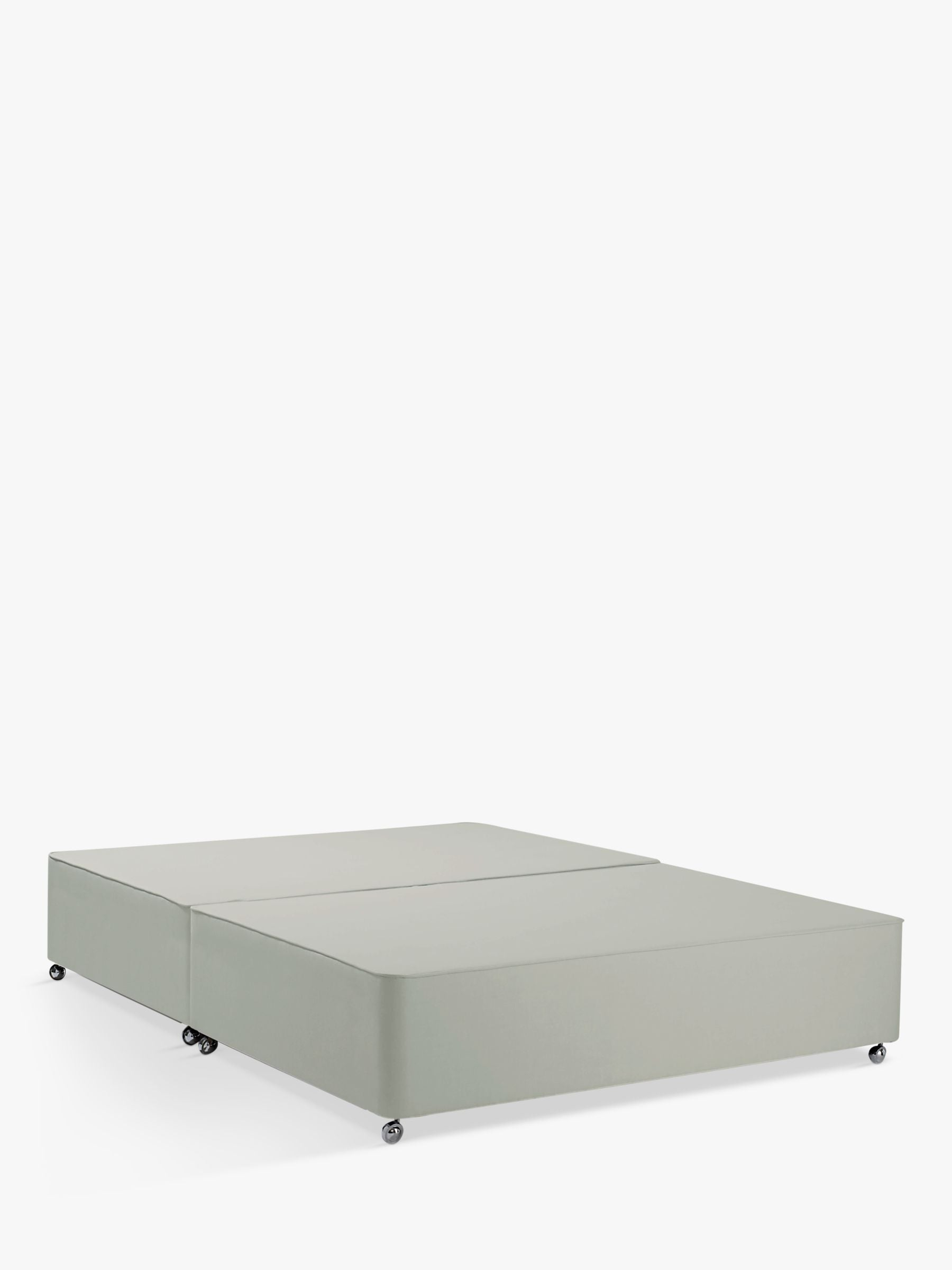 John Lewis & Partners Non-Sprung Upholstered Divan Base, Small Double, Canvas Stone Grey, FSC-Certified (Pine)