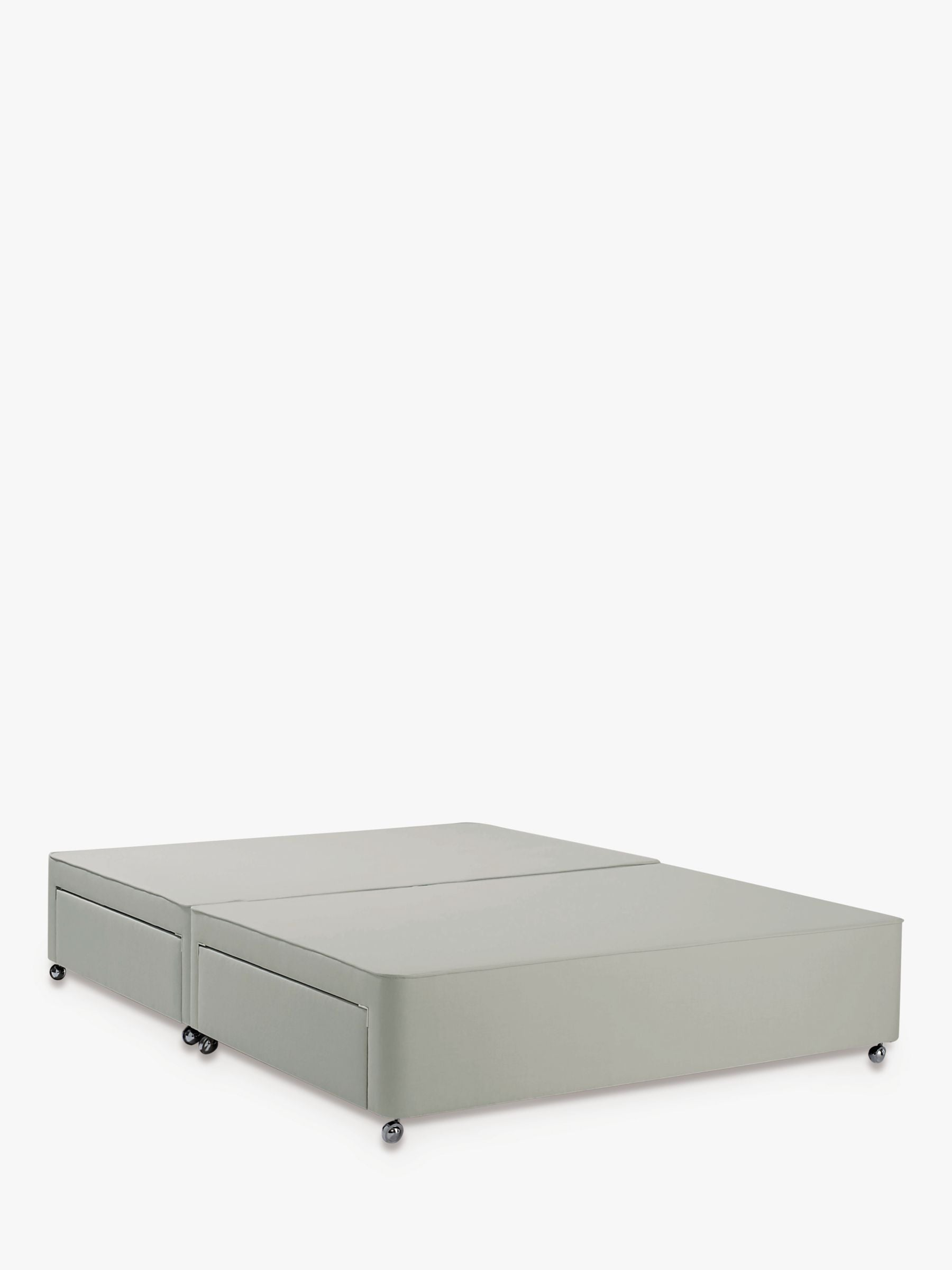 John Lewis & Partners Non Sprung 4 Drawer Storage Upholstered Divan Base, Double, Canvas Stone Grey, FSC-Certified (Pine)
