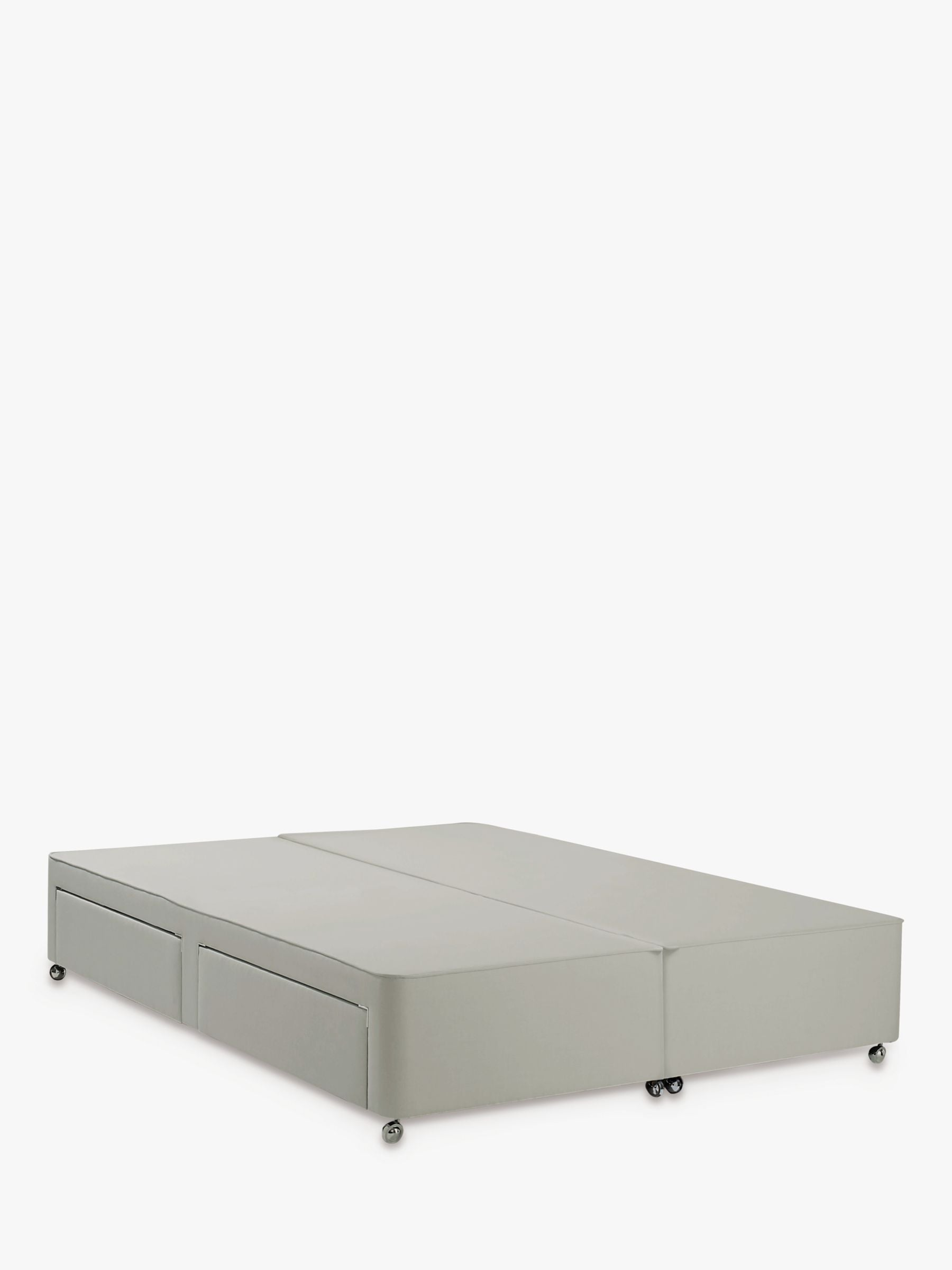 John Lewis & Partners Non Sprung 4 Drawer Storage Upholstered Divan Base, Super King Size, Canvas Stone Grey, FSC-Certified (Pine)
