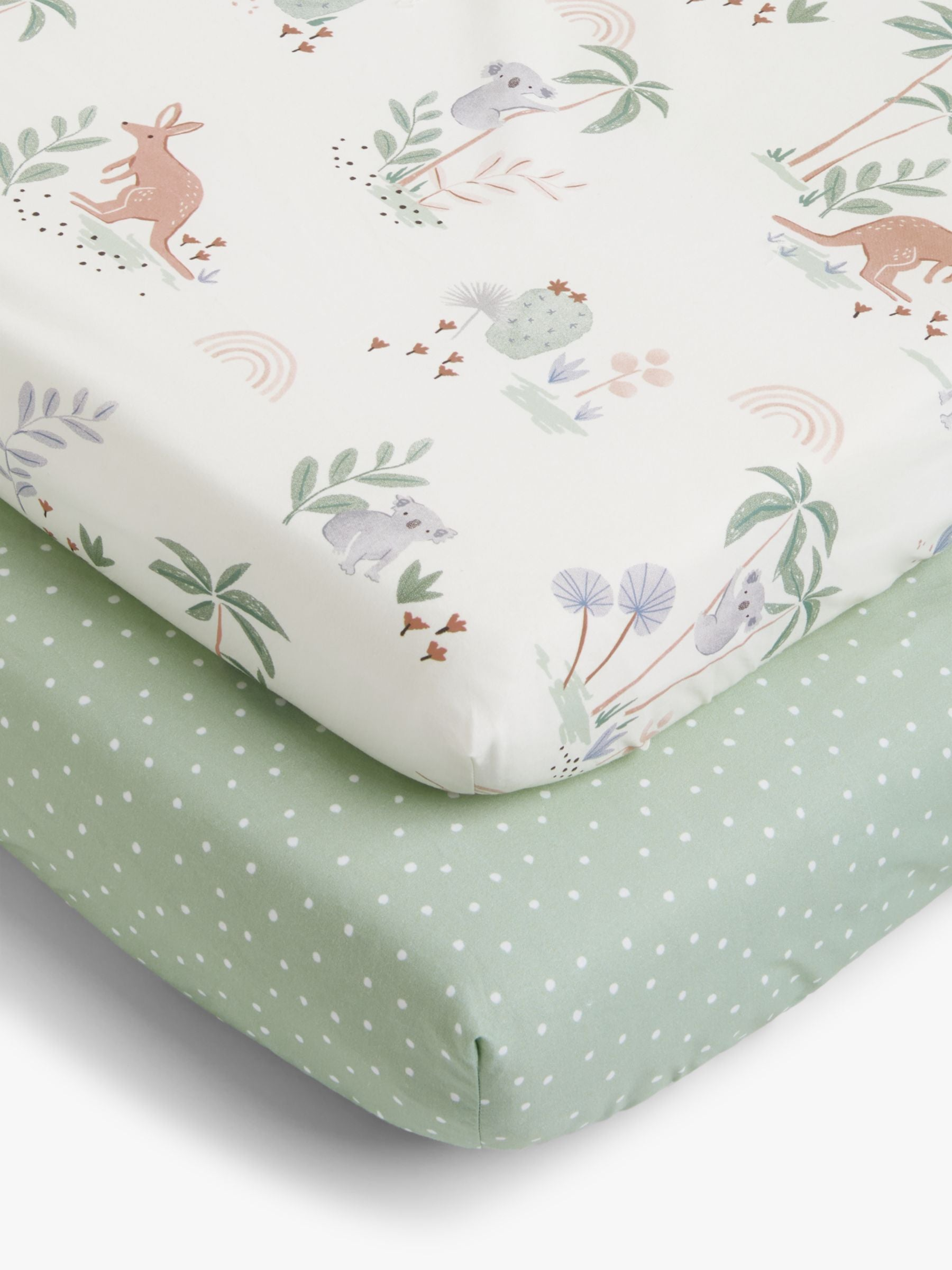 John Lewis & Partners Outback Print Cotton Fitted Cotbed Sheet, 70 x 140cm, Pack of 2