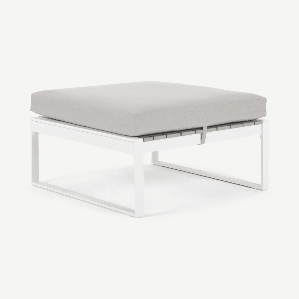 Catania Garden Modular Ottoman, White and Polywood
