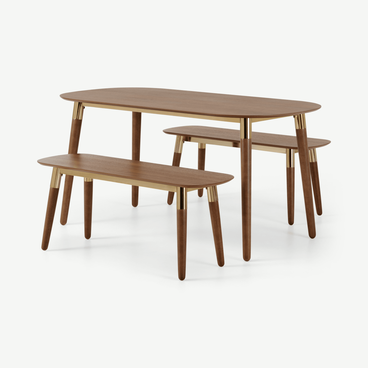 Edelweiss Dining Table and Bench Set, Walnut & Brass