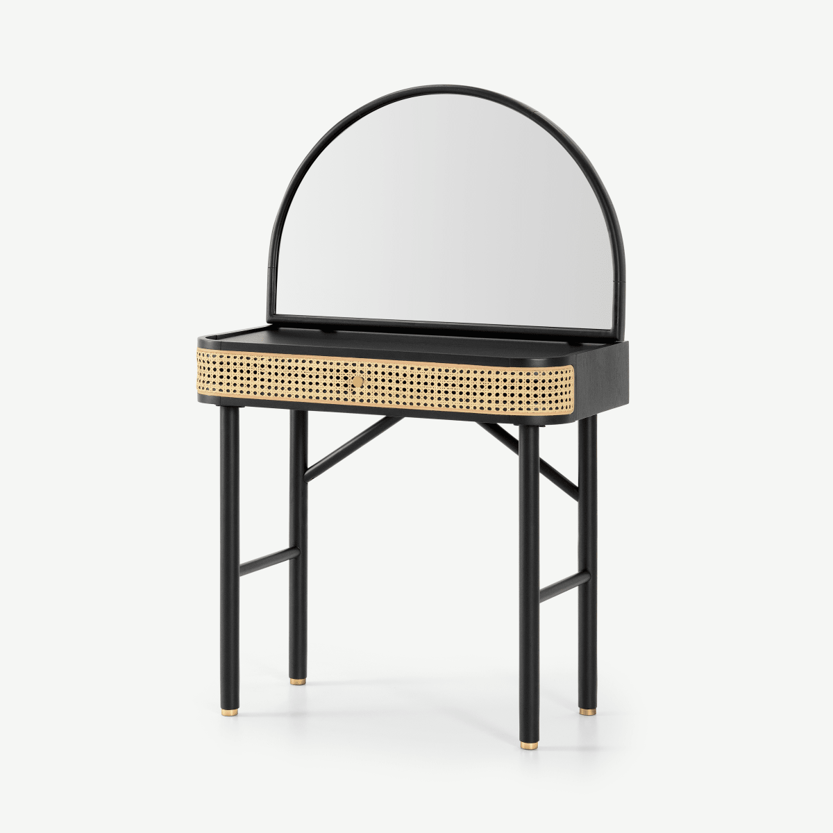 Ankhara Dressing Table, Rattan & Black Stain Oak