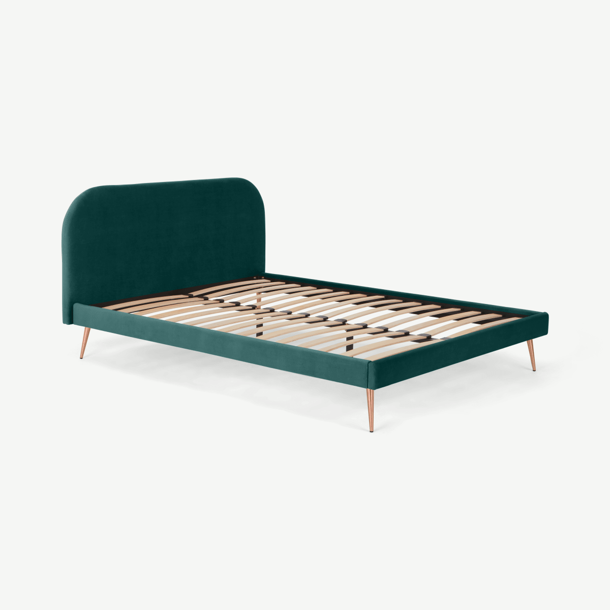 Eulia King Size Bed, Seafoam Blue Velvet & Copper Legs