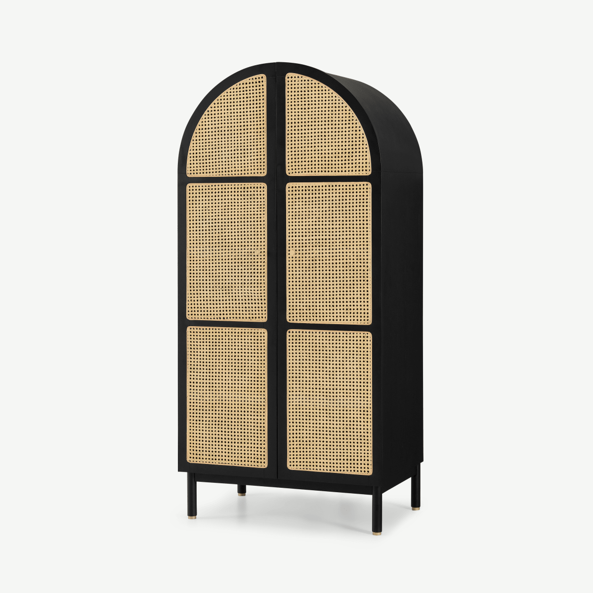 Ankhara Double Wardrobe, Rattan & Black Stain Oak