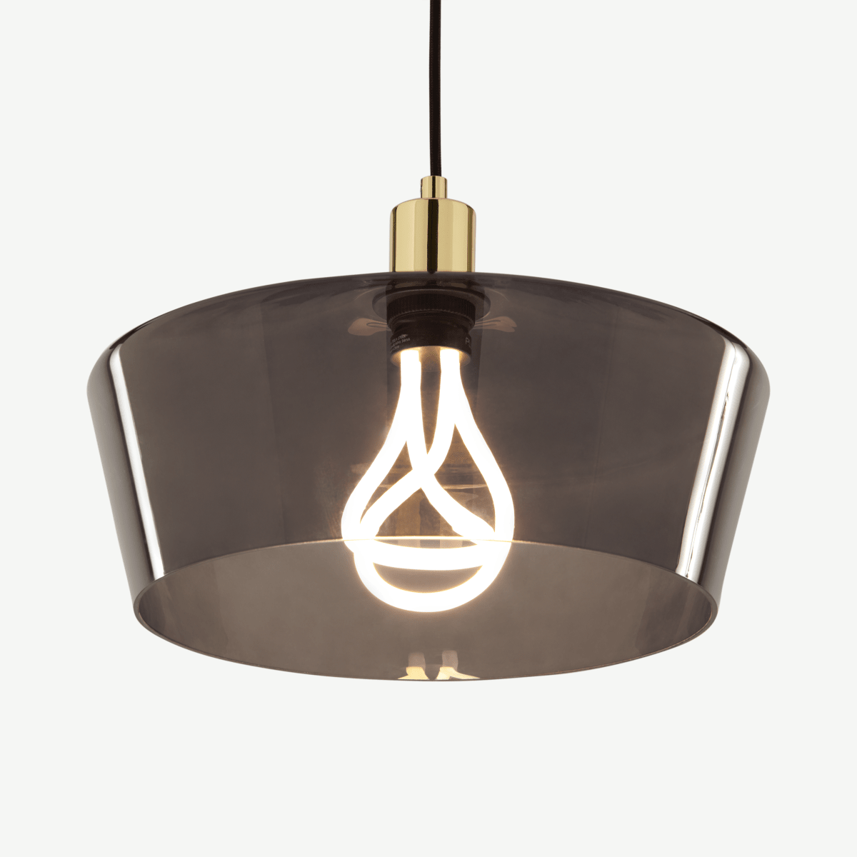 Kem Pendant Light and Plumen 001 LED Bulb, Smoke Grey Glass and Brass