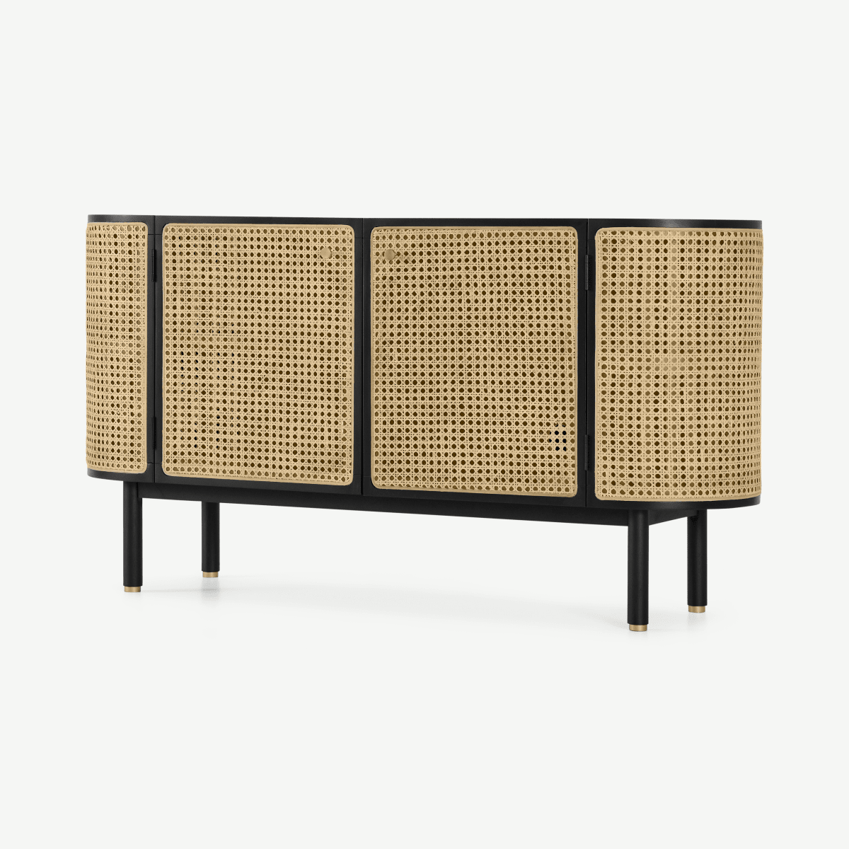 Ankhara Sideboard, Black Stained Oak & Rattan