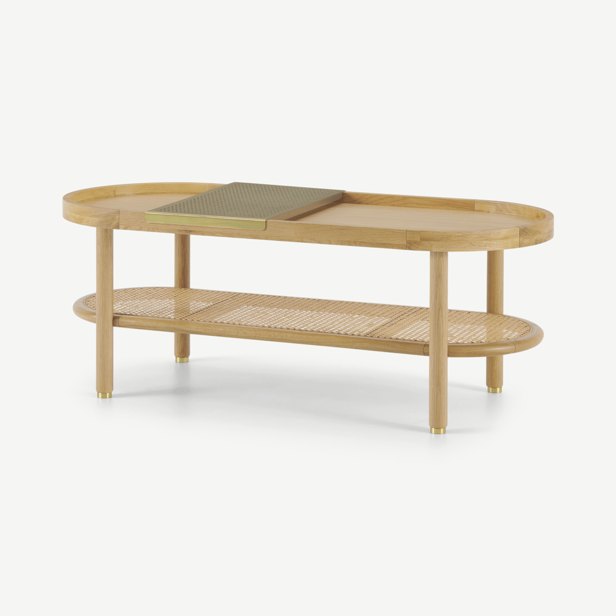 Ankhara Coffee Table, Natural Oak & Rattan