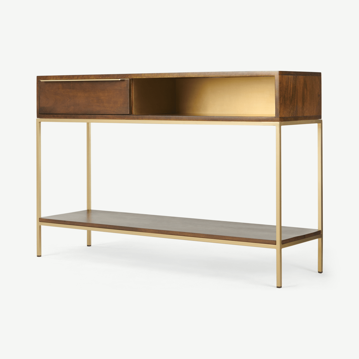 Anderson Console Table, Mango Wood & Brass
