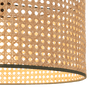 Sagres Pendant Lamp Shade, Natural Cane & Dusky Forest Green