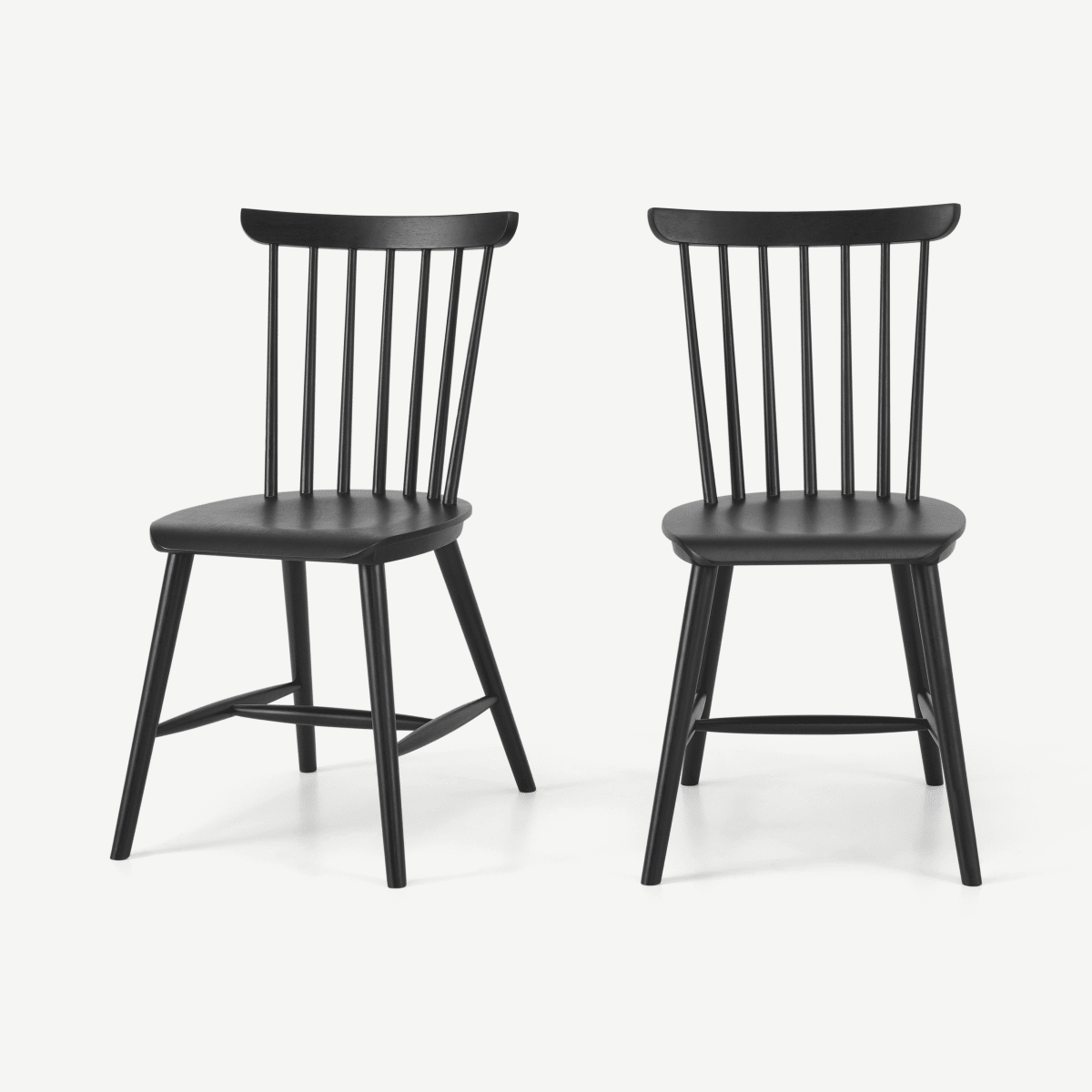 Deauville Set of 2 Dining Chairs, Charcoal Black