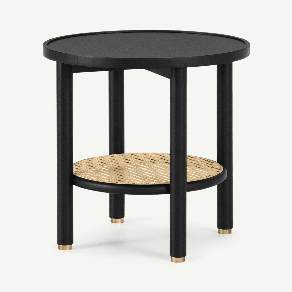 Ankhara Side Table, Black Stained Oak & Rattan