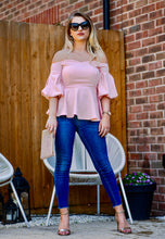 Load image into Gallery viewer, Ava Puffed Sleeves Pink Peplum Top