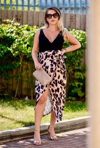 Lucia Leopard Satin Wrap Around Skirt
