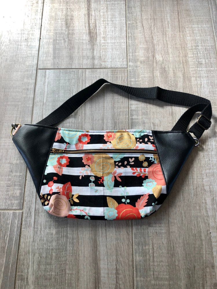 Multicolored Floral/Geo/Faux Leather Fanny Pack