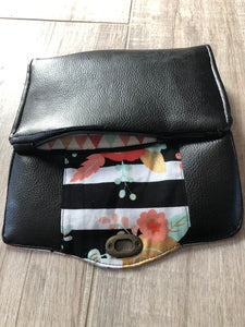Wallet with floral and leather detail