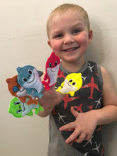 Load image into Gallery viewer, Shark Family Finger Puppets