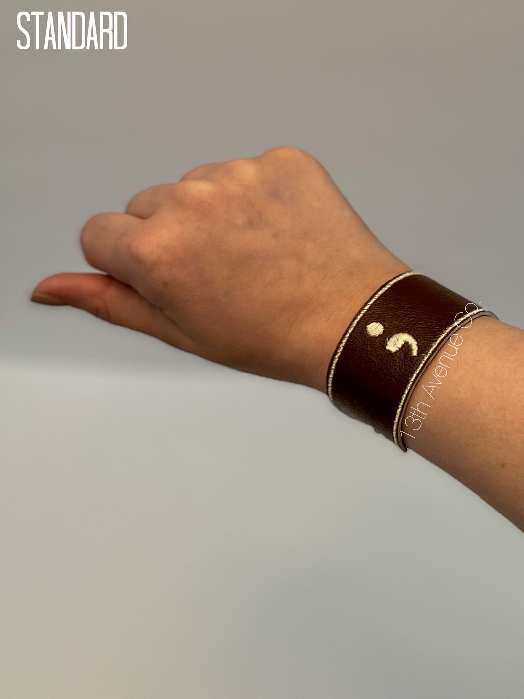 Semicolon Project Faux Leather Wrist Cuff