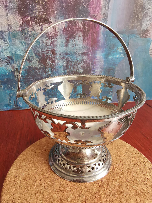 Petite silver plated victorian fruit bowl