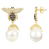 Baroque Pearl Honey Bee Drop Earring Gold