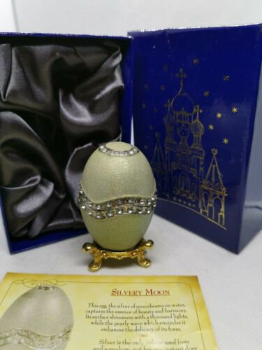 Atlas editions faberge egg - silvery moon collectable trinket box