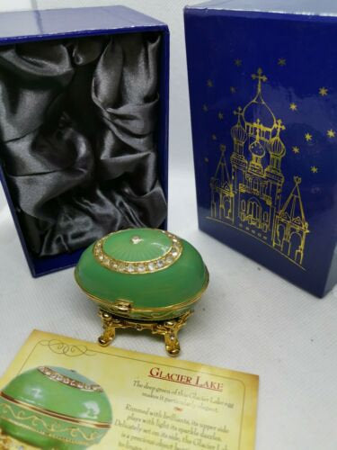 Atlas editions faberge egg - glacier lake collectable trinket box