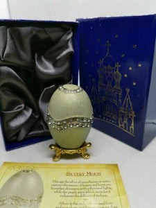 Easter egg atlas editions faberge egg - silvery moon collectable trinket box