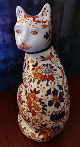 Signed Chinese Porcelain Hand Painted Imari Cat