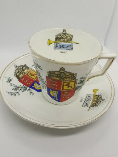 Antique Queen Victoria Jubilee 1887 R No 64761 Cup And Saucer
