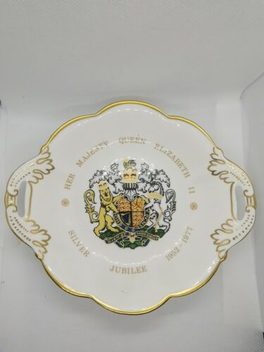 Boxed Coalport Bone China Queen Elizabeth ll 1977 Silver Jubilee 2 handled dish