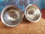 Matching pair silver plated condiment dishes