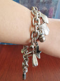 white metal charm bracelet - costume jewelry - fun -and shabby chic