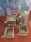 Art Deco pewter four-piece tea set